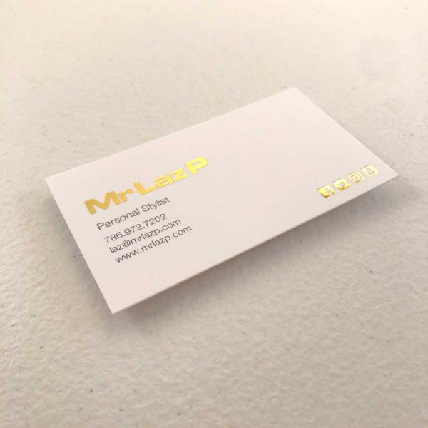 Silk Laminated Metallic Foil Business Cards printing Personal Stylist