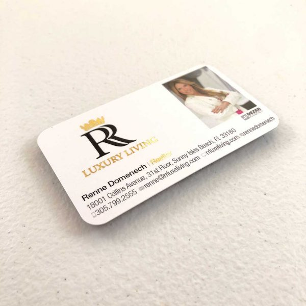 Silk Laminated Metallic Foil Business Cards printing Realtor